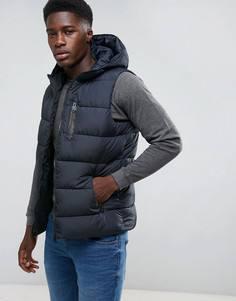 Дутая куртка с капюшоном Threadbare - Темно-синий