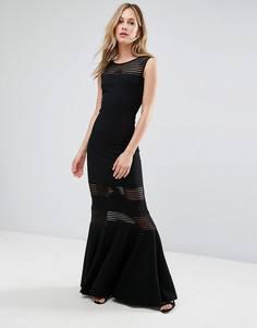 Платье макси с юбкой годе и сетчатыми вставками City Goddess - Черный