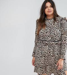 Свободное платье с леопардовым принтом и оборкой на подоле ASOS CURVE - Мульти