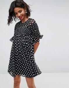 Свободное платье мини с присборенной отделкой ASOS - Мульти