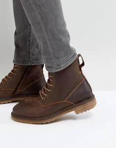 Коричневые кожаные ботинки Pier One - Коричневый