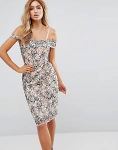 Кружевное платье с вышивкой River Island - Розовый