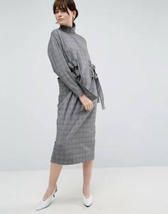 Платье миди в клетку ASOS WHITE - Мульти