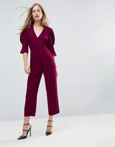 Чайный комбинезон с широкими брюками ASOS - Фиолетовый