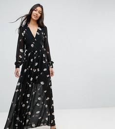 Платье макси с цветочным принтом Vero Moda Tall - Черный