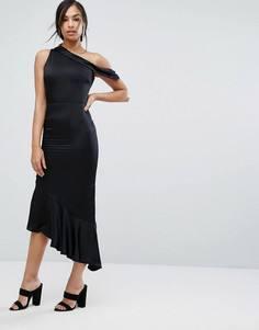 Атласное платье на одно плечо с асимметричным нижним краем Lavish Alice - Черный