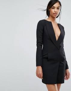 Платье-смокинг мини с широким вырезом Lavish Alice - Черный