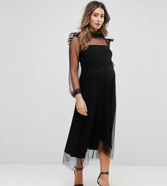 Платье миди из сетки в горошек с длинными рукавами GeBe Maternity - Черный