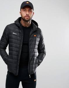 Черная дутая куртка с капюшоном Ellesse - Черный