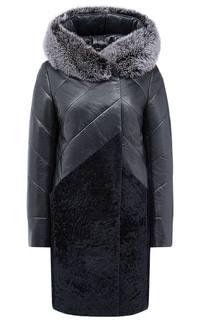 Зимнее комбинированное пальто из кожи с отделкой мехом песца La Reine Blanche