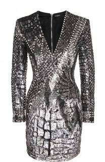 Платье-футляр с длинным рукавом и пайетками Balmain
