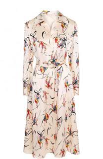 Шелковое платье с ярким принтом и поясом Tory Burch