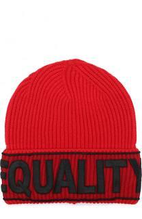 Шерстяная шапка с вышивкой на отвороте Versace