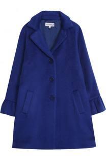 Однобортное пальто прямого кроя с оборками Simonetta