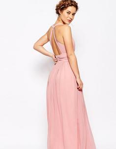 Платье макси с открытой спиной и глубоким вырезом спереди True Decadence Petite - Розовый