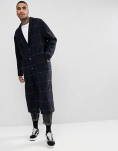 Темно-синее длинное пальто в клетку с добавлением шерсти ASOS - Темно-синий