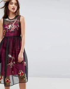 Сетчатое платье миди с контрастной подкладкой и вышивкой ASOS PREMIUM - Мульти
