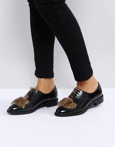 Туфли на плоской подошве с искусственным мехом ASOS MAD HATTER - Черный