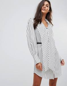 Платье в полоску с поясом Millie Mackintosh Hilton - Белый
