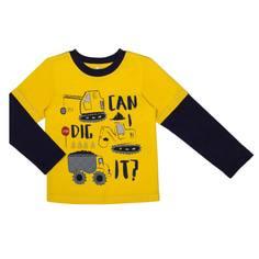Футболка с длинным рукавом для мальчика Barkito «Механика 2», жёлтая с синей отделкой
