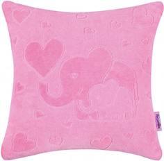 Декоративная подушка Якимок «Слоники» велюр розовая