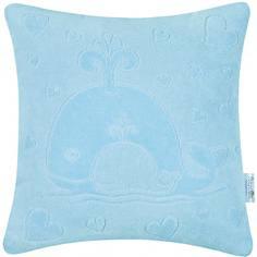Декоративная подушка Якимок «Киты» велюр голубая