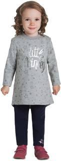 Платье детское Barkito «Пандочка 1», серое с рисунком «звезды»