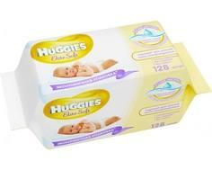 Влажные салфетки Huggies «Elite Soft» со сменным блоком, 2х64 шт.