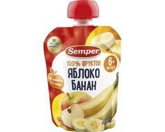 Пюре Semper Яблоко и банан с 6 мес. 90 г (пауч)