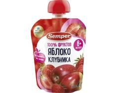 Пюре Semper Яблоко и клубника с 6 мес. 90 г (пауч)