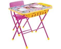 Комплект мебели Nika kids «Азбука: Маша и Медведь» стол 60х45 см с пеналом и стул розовый
