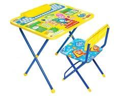 Комплект мебели Ника «Фикси Азбука» стол 60х45 см с пеналом и стул Nika