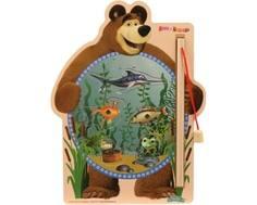 Развивающая игра Затейники «Маша и Медведь: Рыбалка» с магнитами деревянная