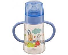 Бутылочка Happy Baby «Baby Bottle» с ручками и соской из силикона с рождения, 250 мл. в ассортименте