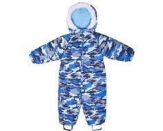 "Комбинезон зимний для мальчика Barkito, синий, с рисунком ""камуфляж"""