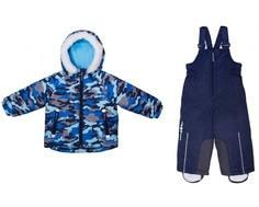 """Комплект зимний для мальчика куртка и полукомбинезон Barkito, синий, с рисунком """"камуфляж"""""""