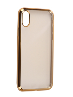 Аксессуар Чехол Svekla Flash Silicone для iPhone X Gold Frame SVF-APX-GOLD