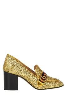 Золотистые туфли с глиттером Gucci