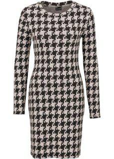 Платье с узором гусиная лапка (черный/белый с узором) Bonprix