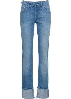 Прямые стрейчевые джинсы с подворотами, cредний рост (N) (голубой) Bonprix