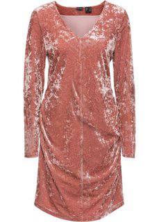 Бархатное платье с драпировками (дымчато-розовый) Bonprix