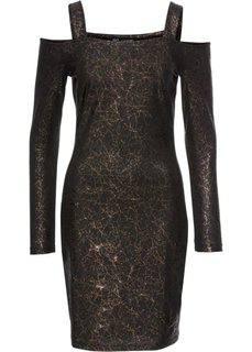 Платье с прорезями, трикотажный материал (черный/золотистый с рисунком) Bonprix