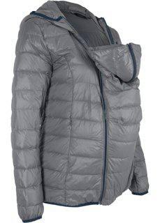 Для беременных и молодых мам: пуховик с карманом для малыша (серый) Bonprix