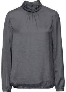 Сатиновая блузка с воротником-стойкой (дымчато-серый) Bonprix