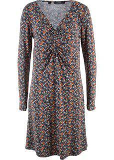 Платье с длинным рукавом (темно-синий в цветочек) Bonprix