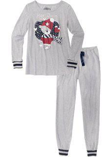 Пижама (светло-серый меланж с рисунком) Bonprix