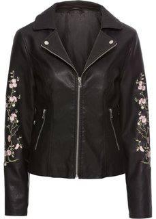 Байкерская куртка с цветочной вышивкой (черный) Bonprix