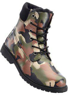 Ботинки на шнуровке (оливковый/черный камуфляж) Bonprix
