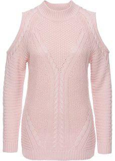 Пуловер с прорезями (розовый жемчуг) Bonprix