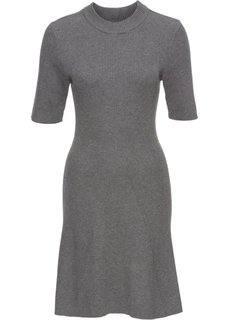 Расклешенное вязаное платье (серый меланж) Bonprix